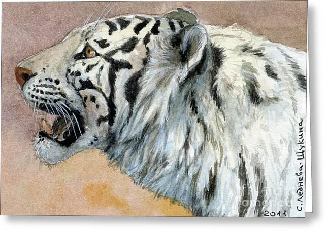 White Tigress Aceo Greeting Card by Svetlana Ledneva-Schukina