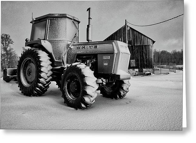 White Tractor Greeting Card