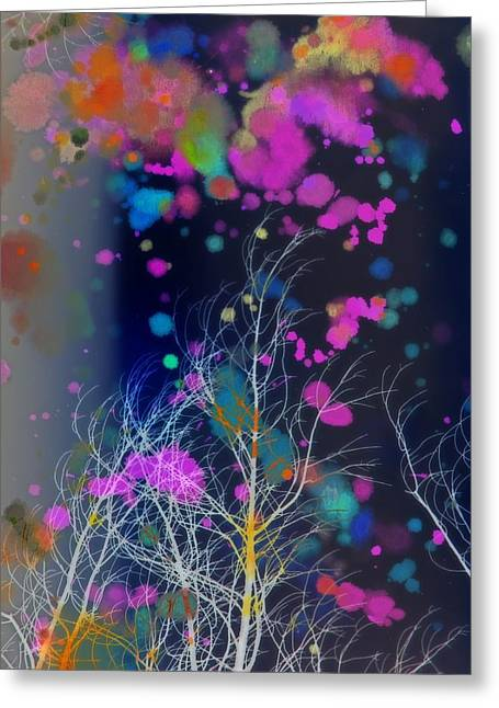 White Tree In A Paint Storm Greeting Card