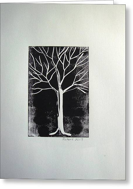 White Tree On Black Greeting Card by Stephane Richard