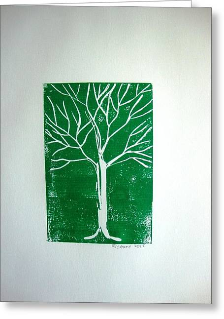 White Tree On Green Greeting Card by Stephane Richard