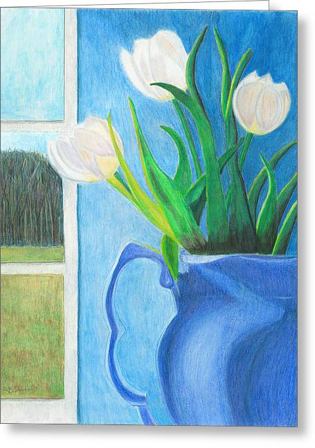White Tulips Greeting Card by Arlene Crafton