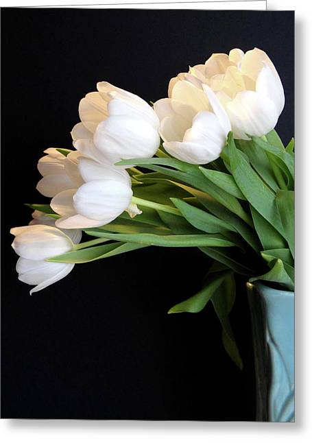 White Tulips In Blue Vase Greeting Card by Julia Wilcox