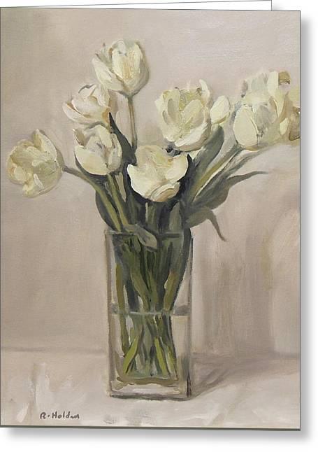 White Tulips In Rectangular Glass Vase Greeting Card