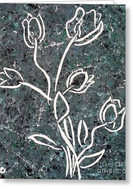 White Tulips Greeting Card by Jilian Cramb - AMothersFineArt