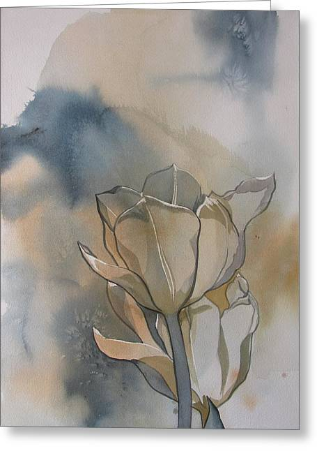 White Tulips With Blues Greeting Card