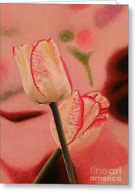 White Tulips With Mauve Stripes Greeting Card by Olga Zavgorodnya