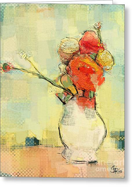 White Vase Greeting Card by Carrie Joy Byrnes