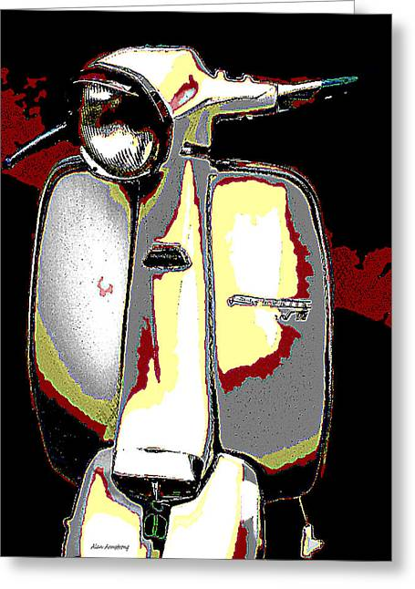 White Vintage Scooter Greeting Card by Alan Armstrong