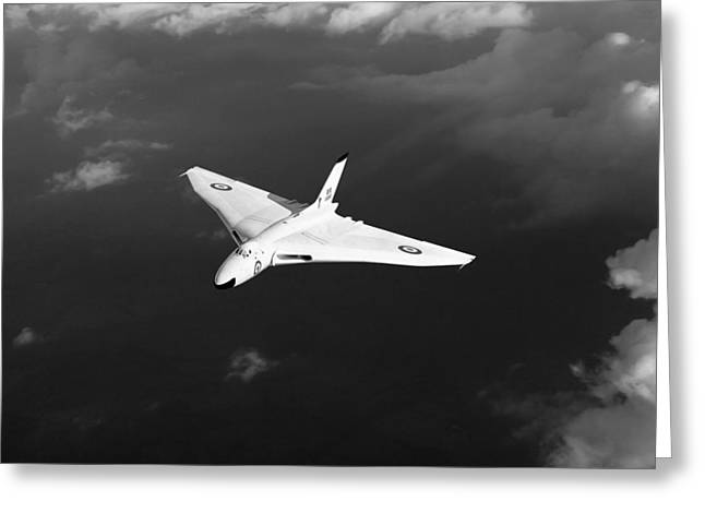 White Vulcan B1 At Altitude Black And White Version Greeting Card by Gary Eason