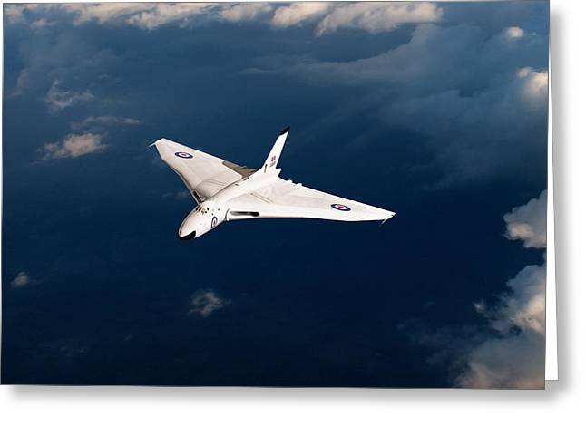 White Vulcan B1 At Altitude Greeting Card by Gary Eason
