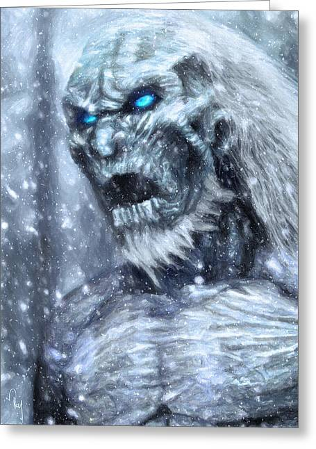White Walker Greeting Card by Taylan Apukovska