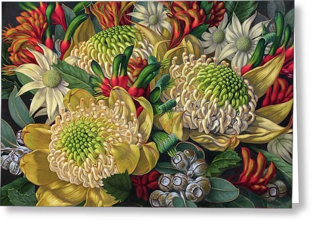White Waratahs Flannel Flowers And Kangaroo Paws Greeting Card