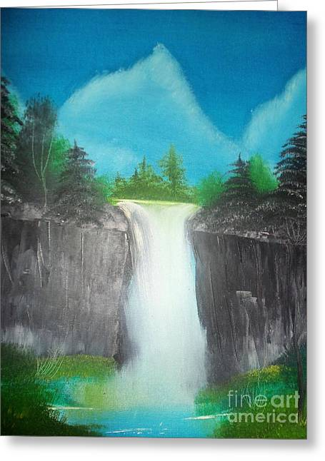 White Waterfall Greeting Card