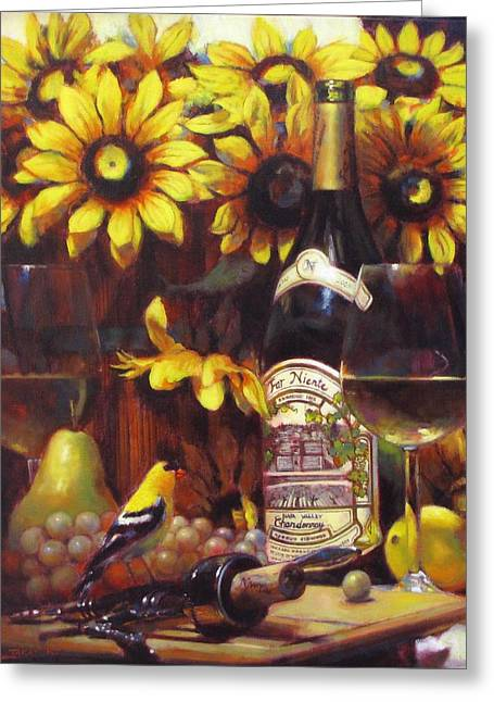 White Wine And Gold Finch With Sun Flower Greeting Card by Takayuki Harada