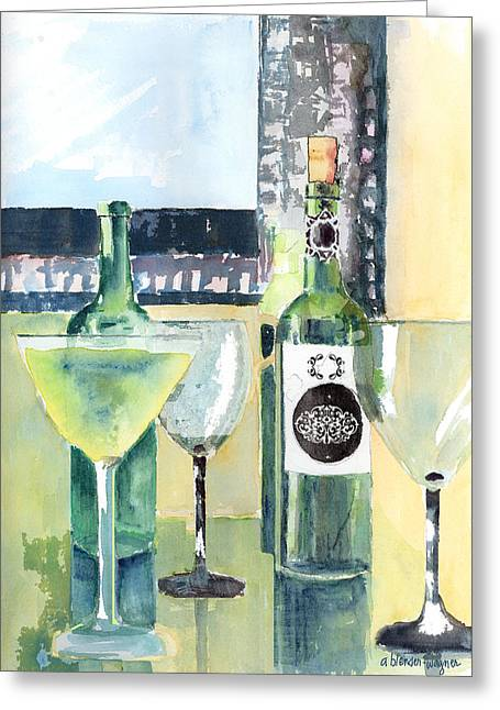 White Wine Greeting Card by Arline Wagner
