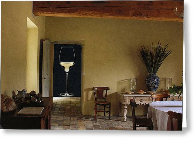 White Wine In The Doorway Greeting Card by Francine Gourguechon
