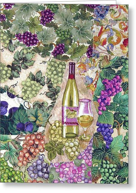 Bottles Tapestries - Textiles Greeting Cards - White Wine Greeting Card by Loretta Alvarado