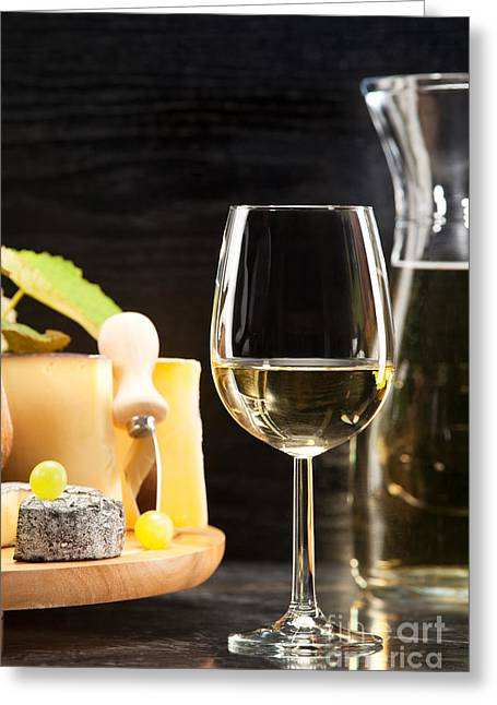 White Wine With Cheese Platter Greeting Card
