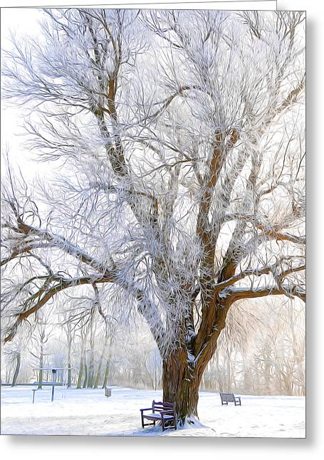 White River Mixed Media Greeting Cards - White Winter Tree Greeting Card by Svetlana Sewell