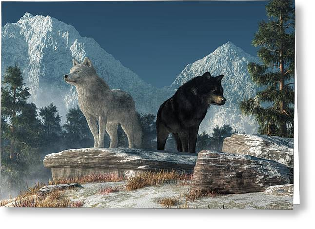 Greeting Card featuring the digital art White Wolf, Black Wolf by Daniel Eskridge