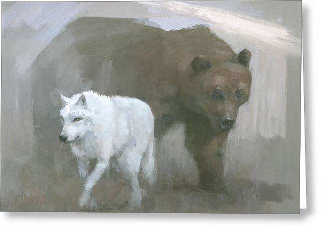Greeting Card featuring the painting White Wolf, Brown Bear by Steve Mitchell