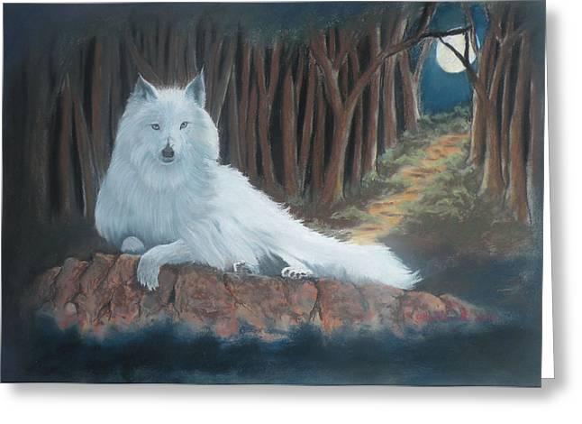 White Wolf Greeting Card by Charles Hubbard