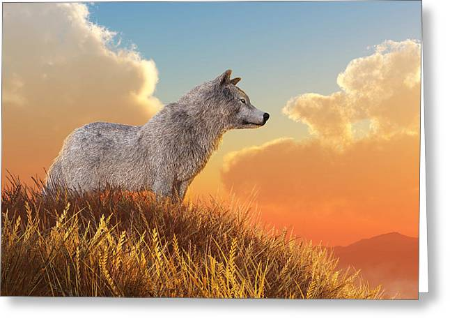 Greeting Card featuring the digital art White Wolf by Daniel Eskridge