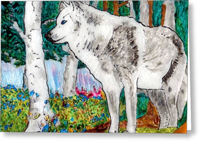 White Wolf In Spring Greeting Card