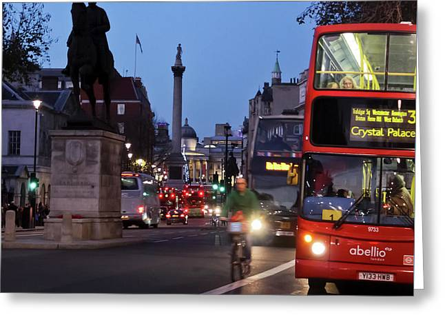 Whitehall To Trafalgar Square Greeting Card by Terri Waters