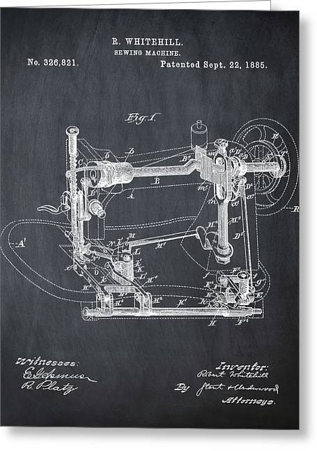Whitehill Sewing Machine Patent 1885 Chalk Greeting Card