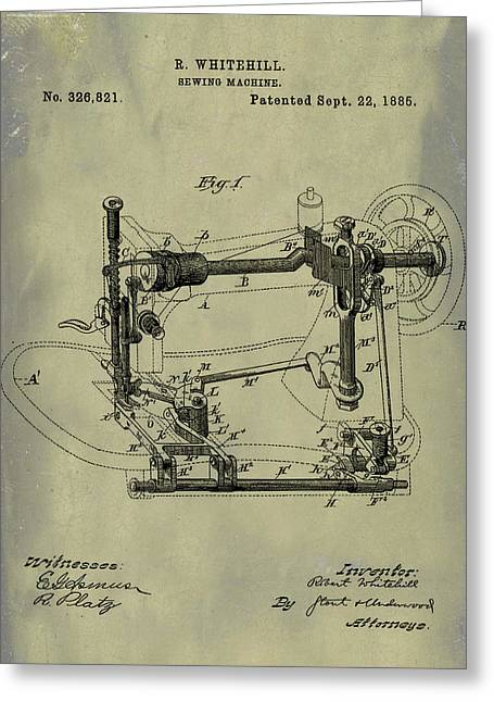 Whitehill Sewing Machine Patent 1885 Weathered Greeting Card