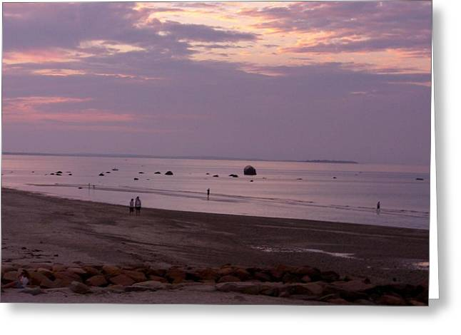 Whitehorse Beach - Sunset Greeting Card by Nancy Ferrier