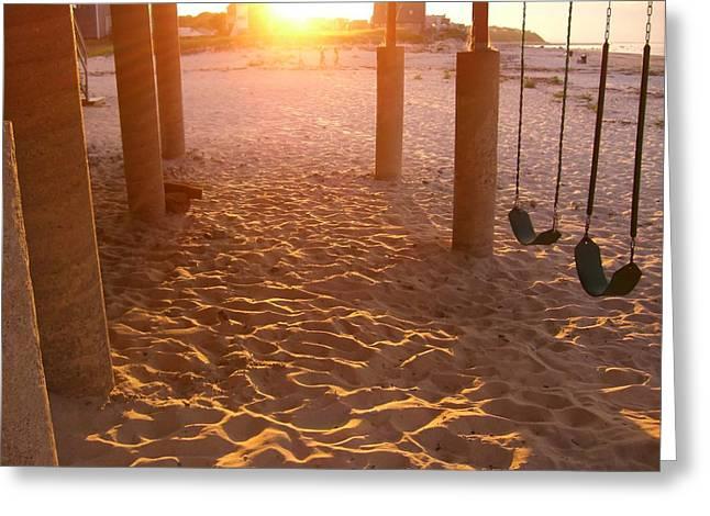 Whitehorse Beach - Swings Greeting Card by Nancy Ferrier