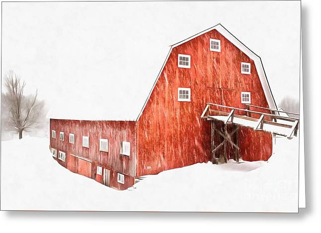 Greeting Card featuring the painting Whiteout On The Farm Blizzard Stella by Edward Fielding