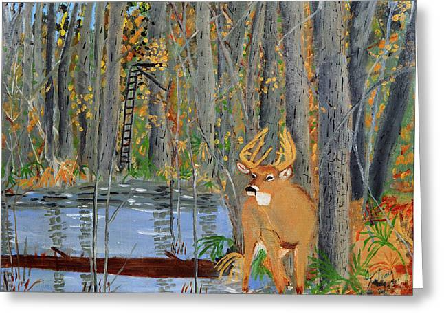 Greeting Card featuring the painting Whitetail Deer In Swamp by Swabby Soileau