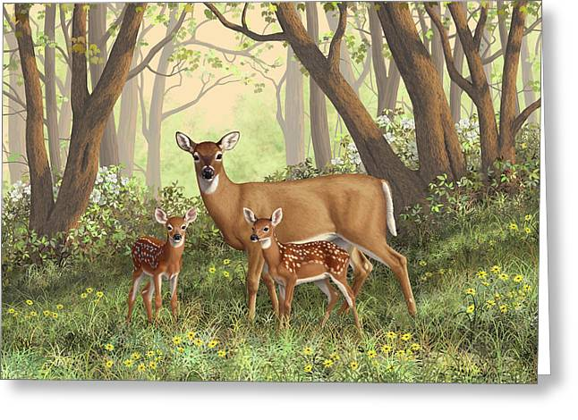 Greeting Card featuring the painting Whitetail Doe And Fawns - Mom's Little Spring Blossoms by Crista Forest