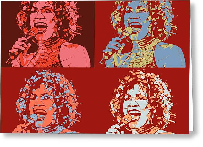 Whitney Houston Pop Art Panels Greeting Card