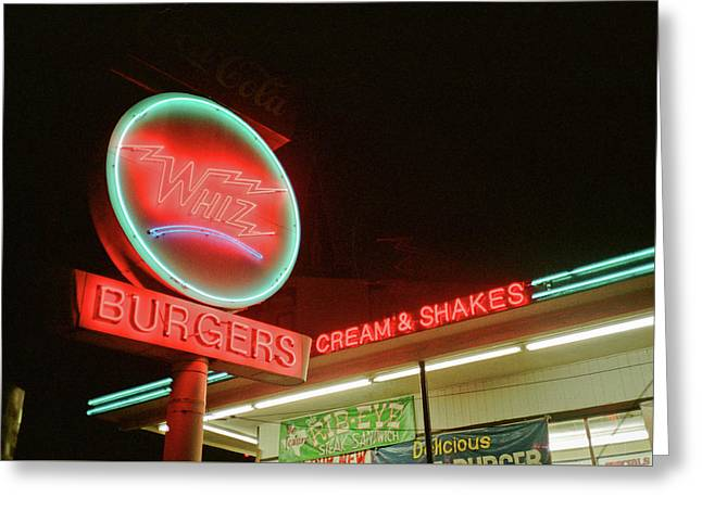 Whiz Burgers Neon, San Francisco Greeting Card