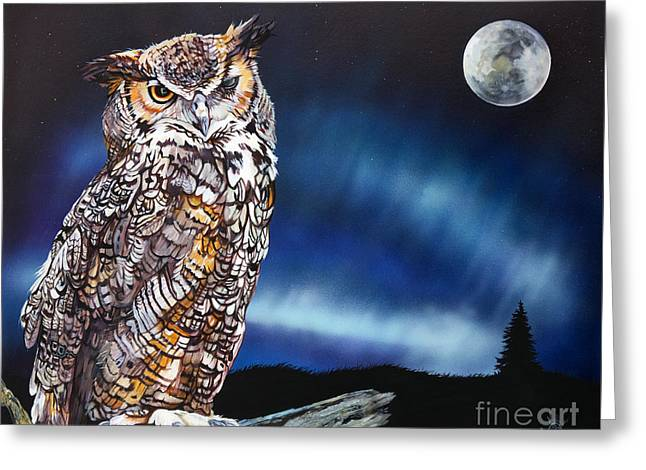 Who Doesn't Love The Night Greeting Card by J W Baker
