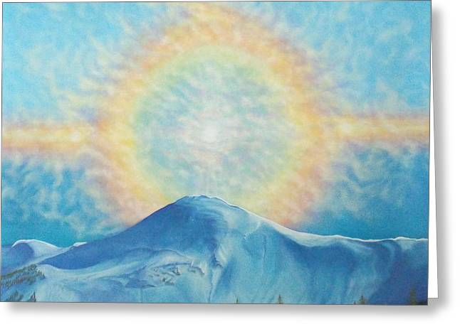 Who Makes The Clouds His Chariot Fire Rainbow Over Alberta Peak Greeting Card