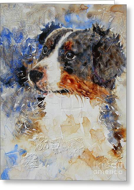 Puppies Paintings Greeting Cards - Who, Me? Greeting Card by Sarah Hansen