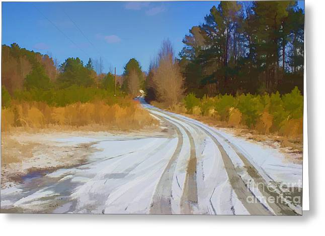 Snow Covered Lane Greeting Card