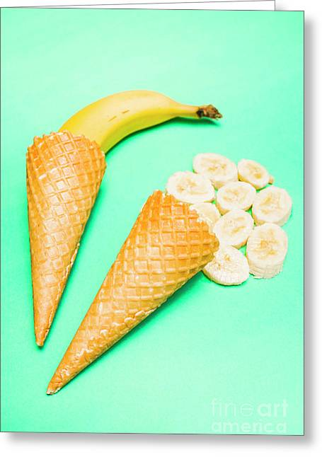 Whole Bannana And Slices Placed In Ice Cream Cone Greeting Card by Jorgo Photography - Wall Art Gallery