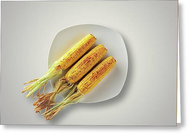 Whole Grilled Corn On A Plate Greeting Card