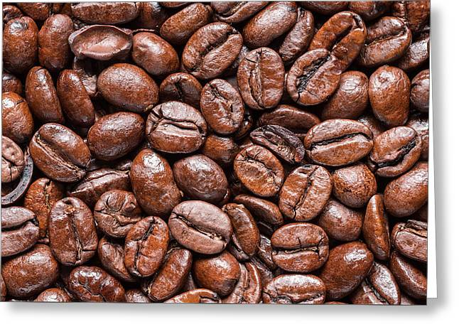 Whole Roasted Coffee Beans Greeting Card by Steve Gadomski