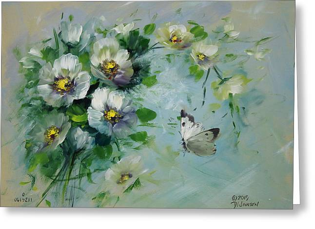 Whte Butterfly And Blossoms Greeting Card by David Jansen