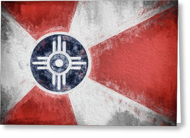 Greeting Card featuring the digital art Wichita City Flag by JC Findley