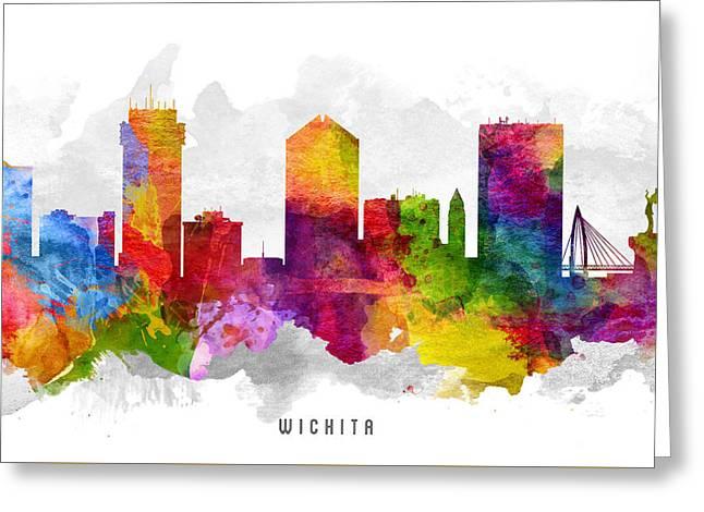 Wichita Kansas Cityscape 13 Greeting Card by Aged Pixel