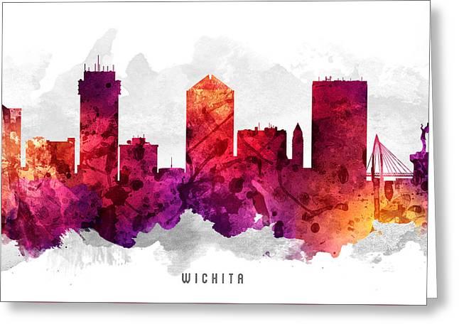 Wichita Kansas Cityscape 14 Greeting Card by Aged Pixel